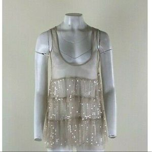 Chan Luu Sheer Sequin Tank Top